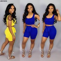 2020 Nuove Donne Summer Solid Sportty Fashion Due pezzi Set Tank Tank Tee Top Shorts Tuta Casual Tracksuit Outfit 2Color GLWDL65831