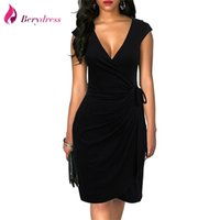 Berydress élégante classique robe de colka drapé femmes robes cocktail fête midi noir été molycernes faux wrap vestidos y200418