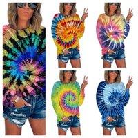 Renk Kravat Boya Kadın Tasarımcı T-Shirt Paisley Baskı Bölünmüş Tişört Bayanlar Bluz Uzun Kollu Kazak Kazak Spor T Gömlek Tops Tees G12101