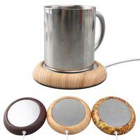 6 ألوان usb الخشب الحبوب كأس أكثر دفئا الحرارة المشروبات القدح حصيرة الحفاظ على شرب سخان دافئ القهوة أكواب الشاي أكواب كوستر للمنزل بار 189 K2