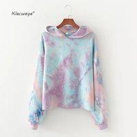 Klacwaya femmes tie-dye 100% coton hoodies dames de mode manches pleines à capuche pollovers filles chics dessus Streetwear 200930