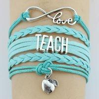 Infinity amour Enseignez Pommes Teacher Charm Wrap Bracelet Multilayer Cadeaux personnalisés en cuir Femmes Hommes Bijoux Bracelets