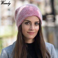 Beanie / Casquilleras Venta Sombrero de invierno Sombreros de piel real para mujeres Fashion Fashion Weaver Beanie Solid Adult Cover Gifts Gifts