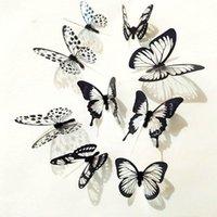 18pcs 3D Borboleta preto e branco adesivos Art Decalque Decoração Room Decor Fping