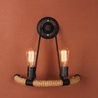 Duvar Lambası Endüstriyel Stil Çatı Katı Amerikan Ülke Demir Retro Halat Lambaları Vintage Aydınlatma Kolye Işıkları 110-240 V