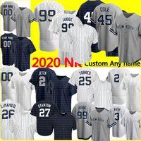 Новый 99 Аарон Судья Джерси Дерек Джерл 45 Джеррит Коул Джерси Пользовательские бейсбольные трикотажные изделия Babe Ruth Mantle Rivera Gleyber Torres Jersey 2020