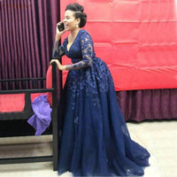 2021 Robes de soirée formelle bleu marine A Ligne Dentelle Applique robe de bal de bal manches longues manches longues Nigéria fête africaine Gurst robes plus taille