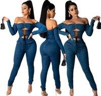 Sexy Design Lace Up Frauen Jeans Jumpsuits 2021 Neueste Slash Hals Lange Ärmel Aushöhlen Fronttaschen Skinny Denim Strampler Party