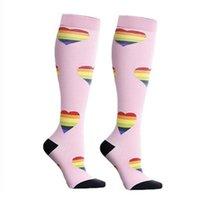 Socks Sports Outdoor Caminhadas meias Unisex perna de apoio stretch nylon Esporte de Rendimento Correndo Azul Rosa