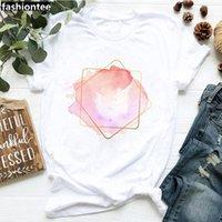 Zogankin Kalp Çiçek Baskı Bayanlar T-Shirt Rahat Pamuk Kadınlar Beyaz Tshirt Kısa Kollu T Gömlek Kadın Aşk Grafik Tee1