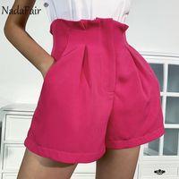 Nadafair Summer Wide Led Ruffles High Waist Shorts Women Zip Up 2020 New Fashion Elegant Casual Solid Shorts