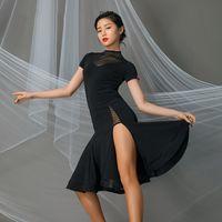 Professional Latin Tanzwettbewerb Kleider Frau Sexy Short Sleeve Kleider Weibliche Ballsaal Cha Cha Praxis Kleidung DWY4036