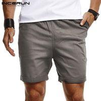 Moda Masculina Shorts Elastic cintura Corredores 2020 respirável cor sólida Shorts Mens Lazer Verão Curto Streetwear S-5XL INCERUN