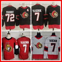 2021 Reverse Retro 7 Brady Tkachuk 72 Thomas Chabo Ottawa Senators Hóquei Jerseys Black Vermelho Branco Costurado jerseys