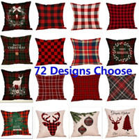 Christmas Stripe Covers New Plaid Linen Sofa Pillow Case Cus...