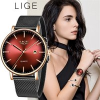 Lige Moda Kadınlar İzle En Marka Lüks Bayanlar Mesh Kemer Ultra ince İzle Paslanmaz Çelik Su geçirmez Kuvars İzle Reloj Mujer 201114