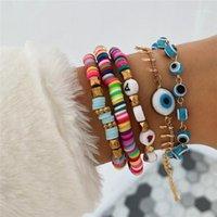 5 teile / satz blau böse auge charme armbänder für frauen regenbogen brief perlen armband set modeschmuck1