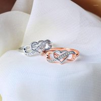 Classic Infinity Heart Ring Elegante Hollow Zircon Crystal Anello Nuziale Affascinante Bridal Engagement Lover's Gifts Donne Gioielli1