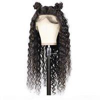 180% densidade curly 360 rendas dianteira peruca peruana remy cabelo natural cor cheia lacéwig com nós branqueados