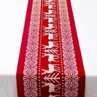 Напечатанные льняные украшения вечеринки 6 стилей кухня столовая гостиная столовая крышка с рождеством Рождественский стол Рожанчик Xmas скатерть флаги AAD2743