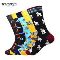 [WPLOIKJD] Erkek Çorap Penye Pamuk Jakarlı Karikatür Hayvan İş Elbise Mürettebat Çorap Düğün Hediyesi Meias Büyük Boy Yenilik Sokken1