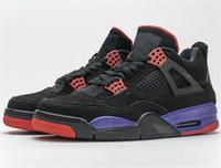 2020 de Moda de Nova Raptors NRG Jumpman 4s preto roxo Shoes Man basquete 4 UN OG couro real Outdoor Sneakers Com Box AQ3816-056