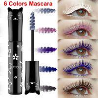 TeyaSon ماكياج ماسكارا الملونة 6 ألوان الحلو القط اللون ماسكارا العين ماكياج الرموش حجم سميكة حليقة ماسكارا للماء طويلة الأمد