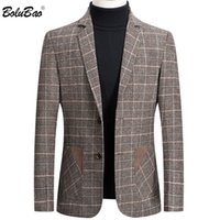 BOLUBAO Brand Men Blazer Personality Wild Men's Suit Jacket High Quality Fashion Plaid Print Slim Fit Warm Blazer Coat Male 201113