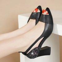 Летние Peep Toe High Caelds Bling Blings Насосы открытые пальцы одежды Обувь коренастые каблуки сандалии женские ботинки Sandalias Mujer LHCGY 7424 # QZ3W