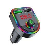Chargeur de voiture F6 Bluetooth 5.0 FM Transmetteur RGB Atmosphère Light Car Kit de voiture MP3 Lecteur sans fil Récepteur audio mains libres avec boîte de vente au détail