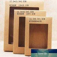 15pcs caixa de papel DIY com janela branco / preto / kraft caixas de presente de papel bolo de embalagens para festa em casa pacote de muffin macaron casamento