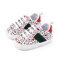 Bebek Ayakkabıları Yenidoğan Erkek Kız Kalp Yıldız İlk Yürüyüş Kurucular Çocuk Toddlers Lace Up Pu Sneakers Prewalker Beyaz Ayakkabı