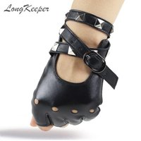 LongKeeper 1 пара Половина Finger PU кожаные перчатки Женщины Rock Punk Стиль Rivet Fingerless Черные перчатки Новые варежки Luvas