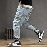Stil Moda Erkekler Kot Vintage Gevşek Fit Çok Cepler Denim Kargo Pantolon Streetwear Hip Hop Harem Jeans Erkekler