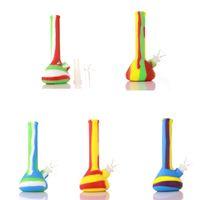 7 pollici Coppa del silicone di disegno del tubo di acqua Mini silicone Beaker Bong infrangibile Rig Tamponare bong con il silicone Downstem