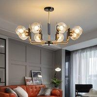 Modern Living Roon Leuchter-Beleuchtung Vintage-Glaskugel-LED Hängeleuchten Retro Küche Licht Leuchte zu Hause Glanz suspendiert
