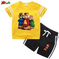 Çocuklar T Gömlek Set Giyim Giyim Spor Alvin Sincaplar Erkek Spor Setleri 2 adet Tshirt + Kısa Suit Toddler Bebek Seti 2020 Yaz LJ200826