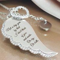 أنا أحبك رسالة زاوية أجنحة قلادة قلادة للأنثى القلب 925 سلسلة فضة اللون طويل حزب قلادة هدايا مجوهرات