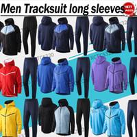 2021 Support à manches longues avec chapeau Full Fermeture à glissière Hommes Veste Sweat Support Rouge Blue Training Uniformes