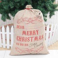 Big Taille Joyeux Noël Linen Sac cadeau Père Noël Sacks Candy Bag Natal Drawstring Nouvel An Noël Home Décor JK2010PH