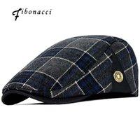 피보나치 높은 품질 레트로 성인 베레모 남성 울 여성의 뉴스 보이 캡에 대한 격자 무늬 택시 기사 Flatcap 모자
