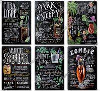 Poster mural Vintage Poster Stickers muraux Décoration rétro Cuba Mojito Cocktail Cocktail Plaque métal Signe Tiki Bar Decor de la cuisine 8833