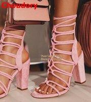 Sandálias Choudory Mulheres Elegante Camurça Trançado Cruzado Cruz Cruz Estampado Lace-Up Sapatos Cacetos Calçados Calçado Dropship1