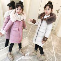 Neue Art und Weise Mädchen Kleidung Wintermantel Set Warm unten Cotton Jacken Kinder-Pelz-Kragen Mäntel Mädchen Eindickung mit Kapuze Kinder-Bekleidung