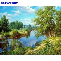 Gatyztory Rahmen GREEN LAE DIY Malerei nach Anzahl Handgemalte Ölgemälde Moderne Wandkunst Bild für Wohnkultur 40x50cm Geschenk1