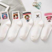 Rayado Estilo Anime japonés de dibujos animados Luffy Chopper Calcetines de primavera y verano de algodón de las mujeres