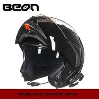 Beon double 렌즈 오토바이 헬멧 블루투스 남성 전체 얼굴 헬멧 오토바이 레이싱 라이딩 캐스케 모토 헬멧 1