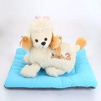 Lavável macio e confortável Silk Estofo Bed Pad Mat Almofada para Cat Dog Luz Pet Azul Tamanho XL
