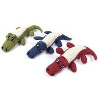 Льняное плюшевое крокодиловое животное игрушка для собак жевать скрипучий шум игрушка жесткая интерактивная кукла чистка зубов поставляет JK2012PH