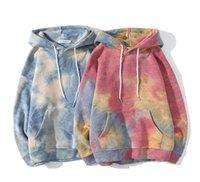 Мужчины женщин толстовки Осень Зима Tie-Dye Gradient свитер с длинным рукавом Пуловеры с капюшоном Топы Letters Причинно фуфаек Одежда LY1106